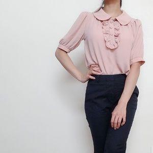 Tops - New beige pink retro ruffle blouse